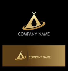 camp pine tree gold logo vector image