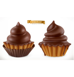 chocolate cupcake fairy cake 3d realistic icon vector image