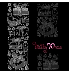 Christmas card of gifts and cookies on black vector image