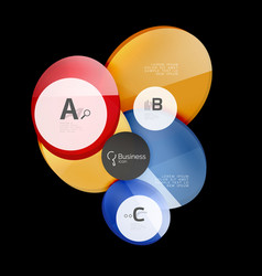 Glossy glass circle banner design template vector