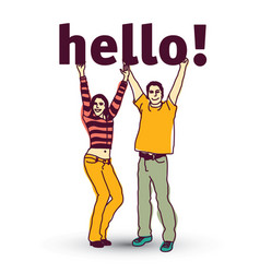 young coupple isolated and sign hello vector image vector image
