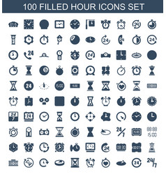 100 hour icons vector image