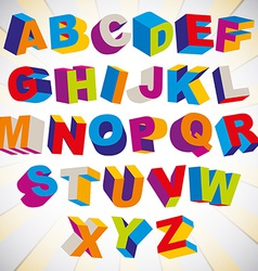 3D font bold psychedelic colorful alphabet vector image