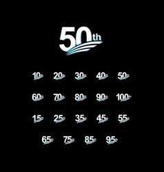 50 th anniversary elegant white celebration set vector