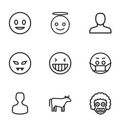 9 face icons vector