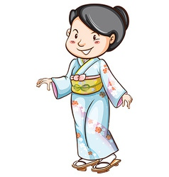 A drawing of a woman wearing an Asian dress vector image