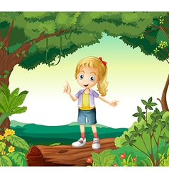 A girl standing on a dry wood vector