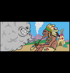 A native american shaman talking with a smoke vector