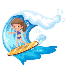 A surfer girl character vector