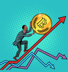 african american man roll a bitcoin coin up vector image