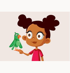 African girl holding a little parrot vector