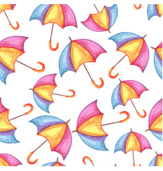 aquarelle seamless pattern with umbrellas vector image