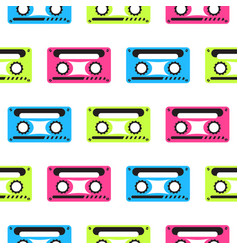 audio tape neon seamless pattern vector image