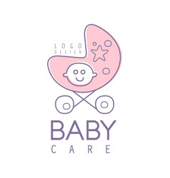 baby care logo design emblem with pink baby vector image