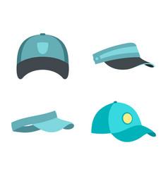 baseball cap icon set flat style vector image