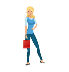 Beauty woman standing red gift bag shopping vector