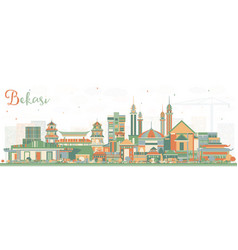Bekasi indonesia city skyline with color buildings vector