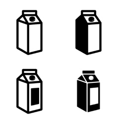 black milk carton packages icons set vector image
