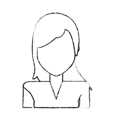 Blurred silhouette faceless half body woman with vector