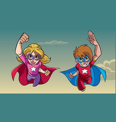 Boy and girl flying together vector
