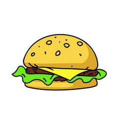burger cartoon hand drawn image vector image