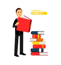 businessman character reading books and getting vector image