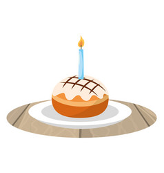 cake with candle on dish vector image