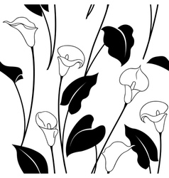Calla pattern black vector