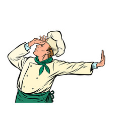 Caucasian cook chef gesture shame denial no vector