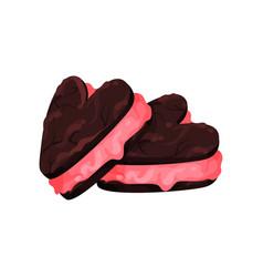 chocolate sandwich cookies in shape of heart vector image