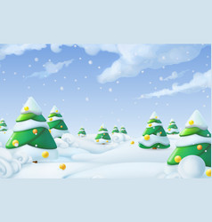 Christmas background winter landscape 3d vector