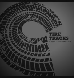 circular tire track on dark background vector image