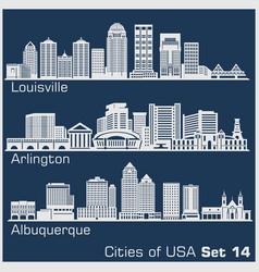 Cities usa - louisville arlington albuquerque vector