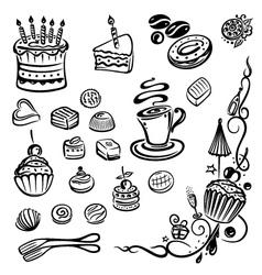 Coffee cakes chocolate vector