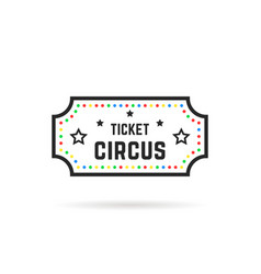 color and black thin line circus ticket logo vector image