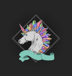 Cool unicorn colorful crystal vector