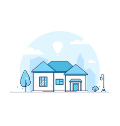 Cottage - modern thin line design style vector