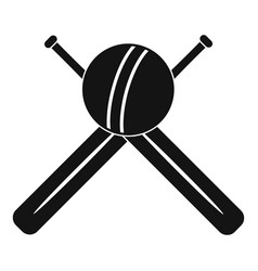 cricket ball and bats logo simple style vector image