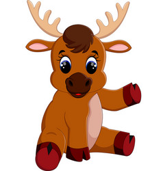 Cute baby moose sitting vector