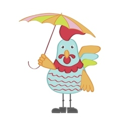 Cute cartoon rooster character vector image