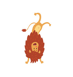 cute lion cub cartoon character standing upside vector image