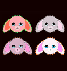 cute pastel colors pink and grey rabbits vector image