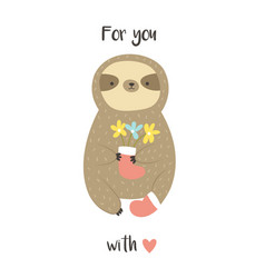 Cute sweet sloth with bunch of flowers in a boot vector