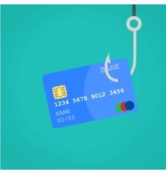 Data Phishing credit or debit card on fishing hook vector