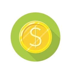 Dollar Gold Coin Icon in Flat Style Design vector image