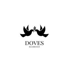 dove pigeon bird couple animal logo design vector image