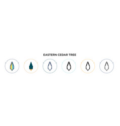 Eastern redcedar tree icon in filled thin line vector