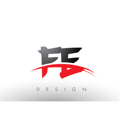 Fe f e brush logo letters with red and black vector