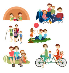 Flat icons set of family characters camping vector