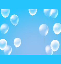 Flying air balloons in a sky template for any text vector